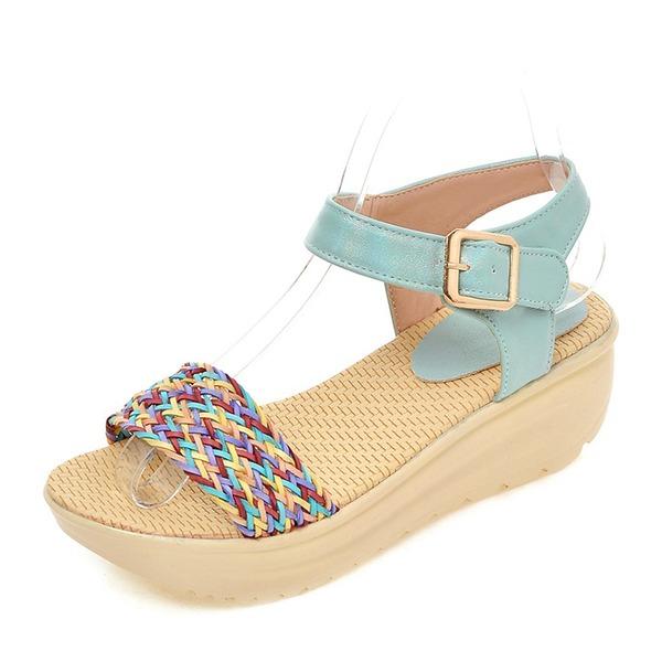 Kadın PVC Dolgu Topuk Sandalet Pompalar Takozlar Peep Toe Arkası açık iskarpin Ile Toka ayakkabı