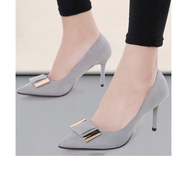 Femmes Suède Talon stiletto Escarpins Bout fermé avec Bowknot chaussures