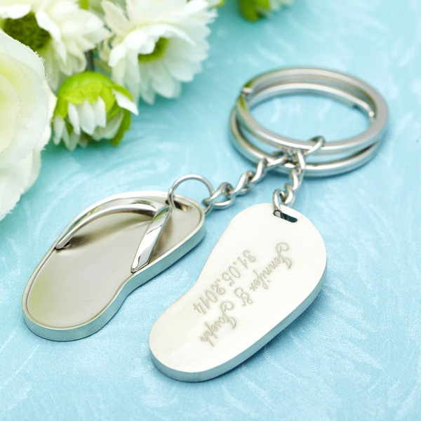 Personalized Flip-flop Stainless Steel Keychains (Set of 6)