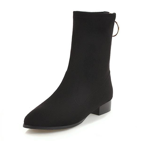 Kvinner Semsket Flat Hæl Støvler Mid Leggen Støvler sko