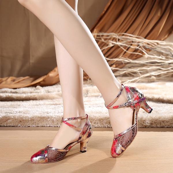 Femmes Dentelle Talons Salle de bal avec Lanière de cheville Chaussures de danse