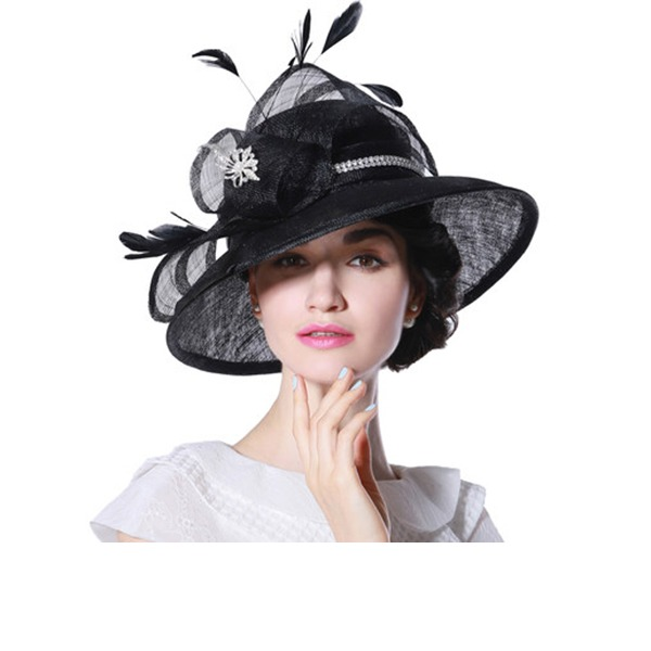 Ladies' Beautiful/Fashion/Glamourous Cambric With Feather Beach/Sun Hats