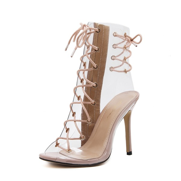 Frauen PVC PU Stöckel Absatz Sandalen Absatzschuhe Peep Toe Slingpumps mit Zuschnüren Schuhe