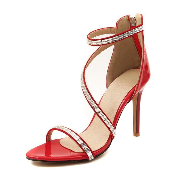 Mulheres Couro Salto agulha Sandálias Bombas com Lantejoulas sapatos