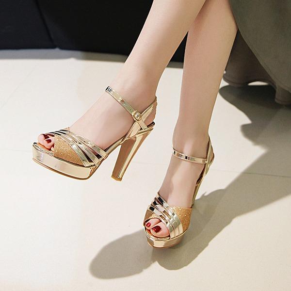 Donna Similpelle Tacco spesso Sandalo Stiletto Piattaforma con Fibbia scarpe