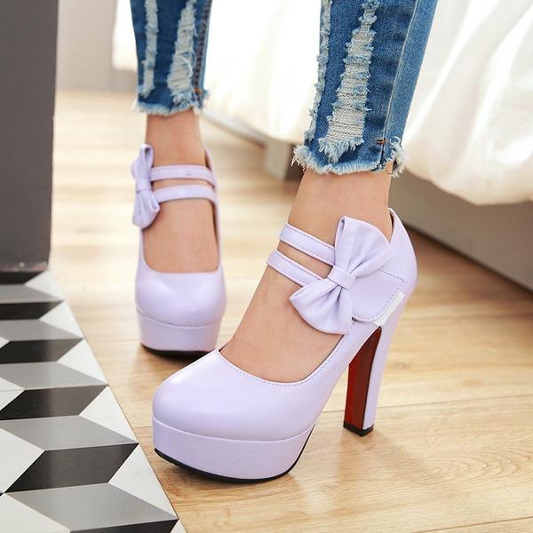 Frauen PU Stämmiger Absatz Absatzschuhe Plateauschuh Geschlossene Zehe mit Bowknot Schuhe