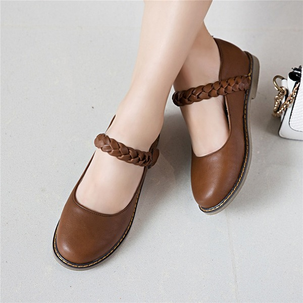 Women's Leatherette Flat Heel Flats Closed Toe Mary Jane With Braided Strap shoes
