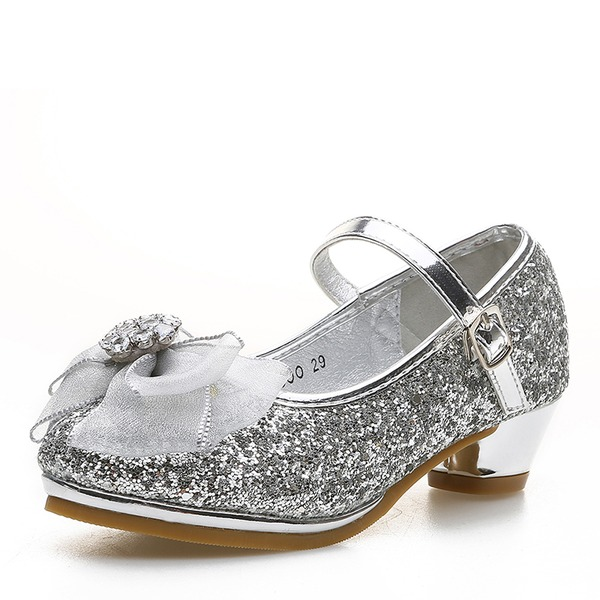 Girl's Round Toe Closed Toe Sparkling Glitter Low Heel Flower Girl Shoes With Bowknot Velcro