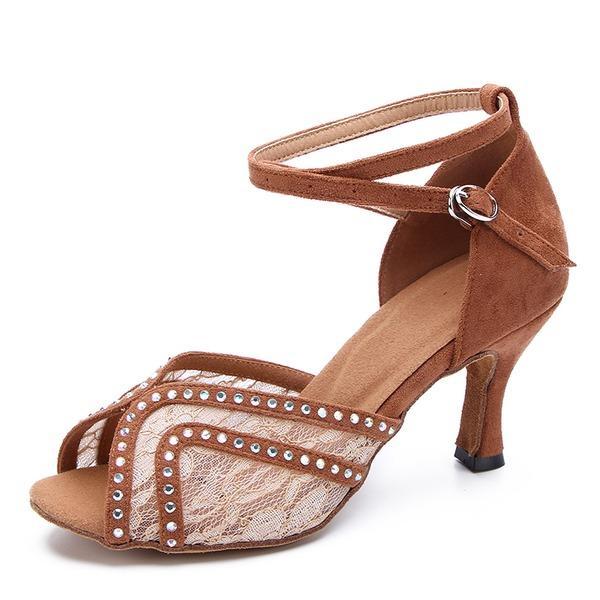 Donna Pizzo Camoscio Tacchi Latino Scarpe da ballo
