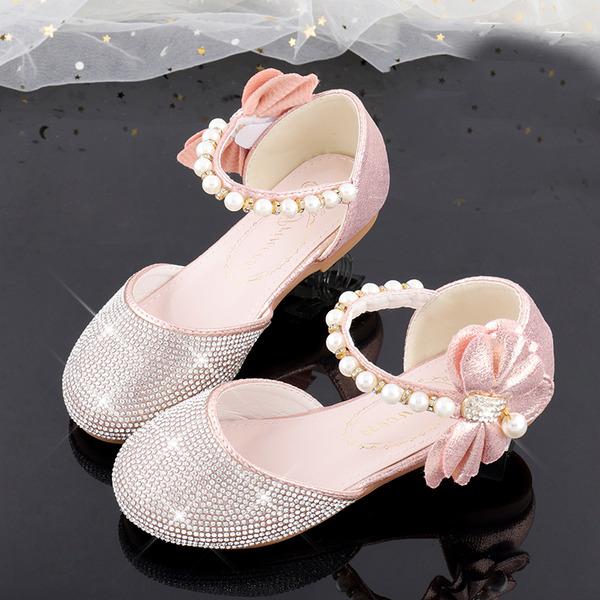 Flicka rund tå sparkling blänker Flower Girl Shoes med Beading Bowknot Kristall Pärla