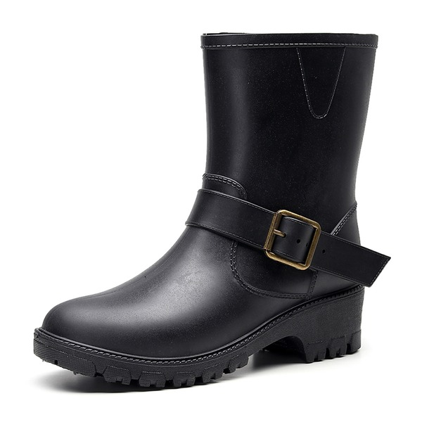 Women's PU Chunky Heel Rain Boots With Buckle shoes