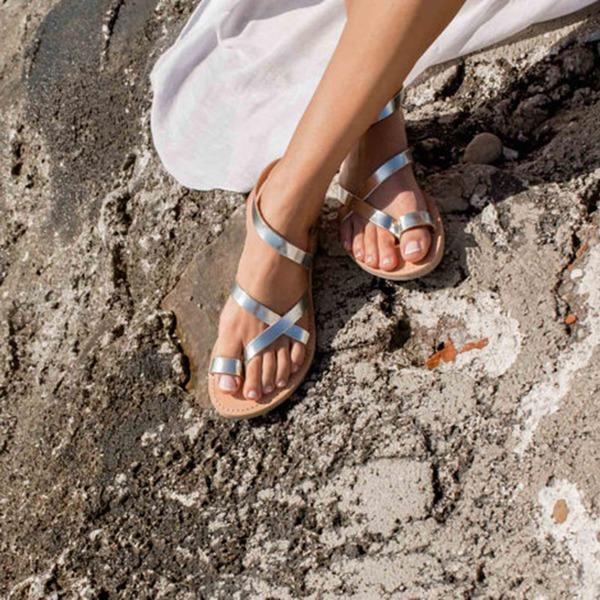 Femmes Similicuir Talon plat Sandales Chaussures plates À bout ouvert Escarpins chaussures
