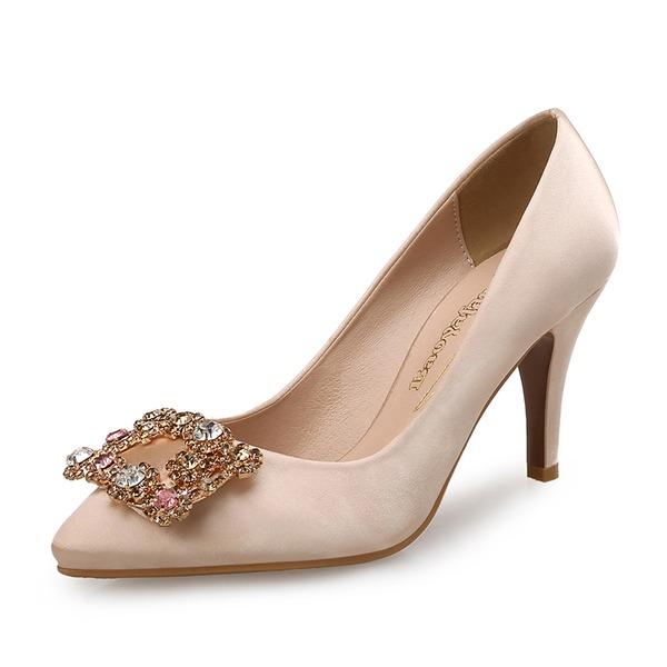 Женщины шелка как атласное Высокий тонкий каблук На каблуках с хрусталь обувь