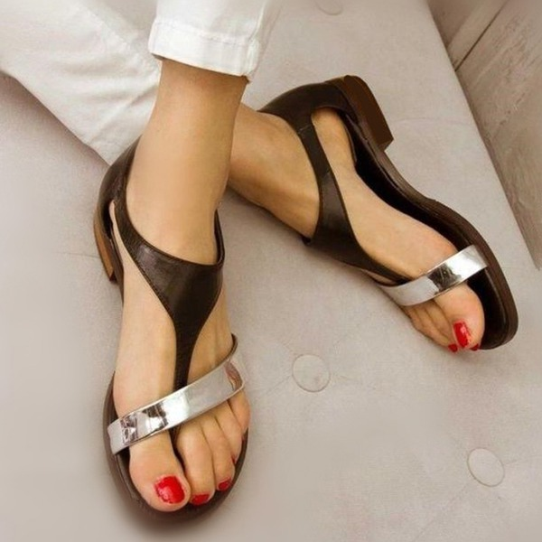 Femmes Similicuir Talon plat Sandales Chaussures plates chaussures