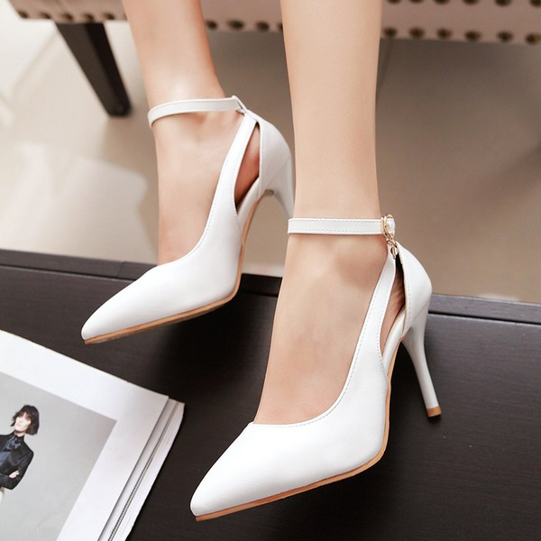 Vrouwen PU Stiletto Heel Sandalen Pumps Closed Toe met Strass schoenen