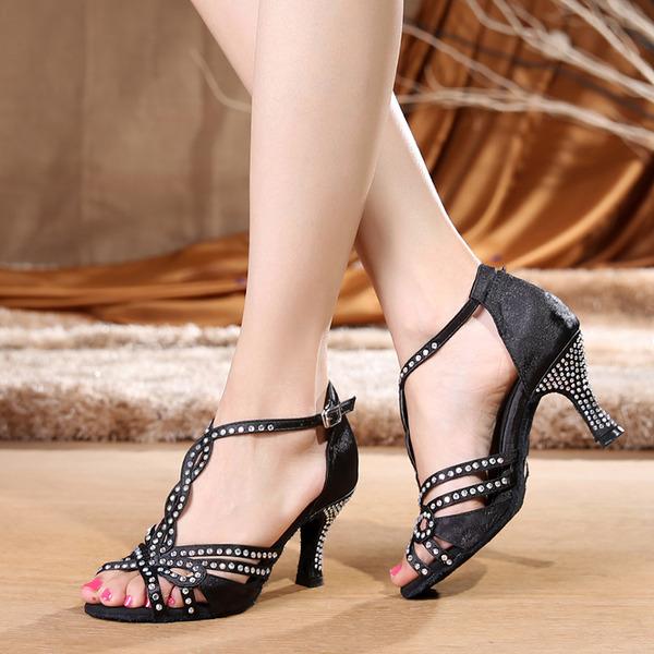 Женщины Атлас Латино с горный хрусталь пряжка Обувь для танцев