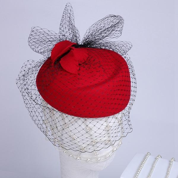 Señoras' Hermoso/Especial/Elegante Madera con Tul Boina Sombrero