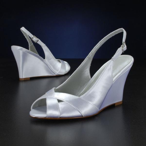 Kvinnor siden som satin Kilklack Sandaler Kilar