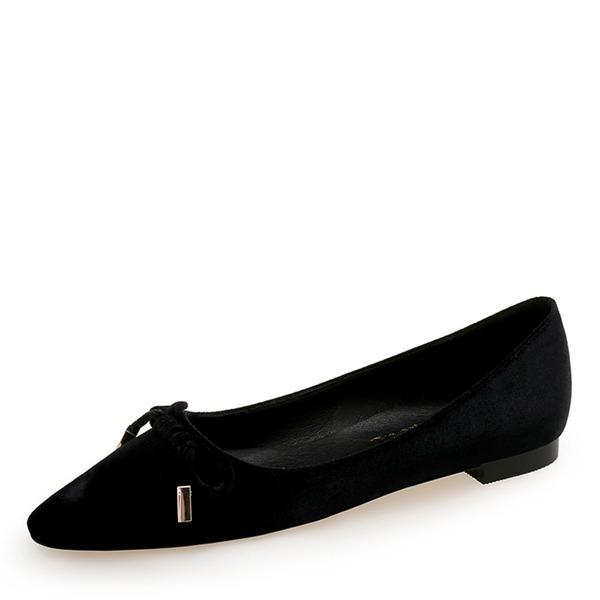 Mulheres Camurça Sem salto Sem salto Fechados com Bowknot sapatos