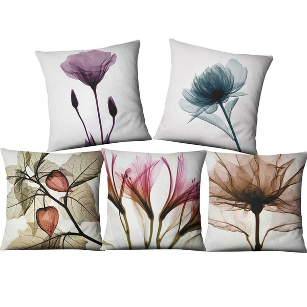 home fashion design flax pillow cover for  bed sofa (set of 5)