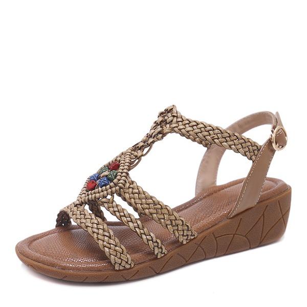 Donna Similpelle Zeppe Sandalo Zeppe Punta aperta Con cinturino con Strass Spalline intrecciate scarpe