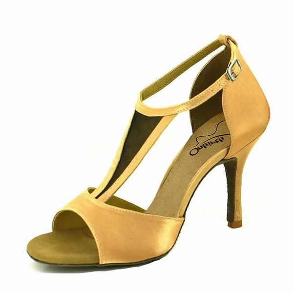Women's Satin Heels Sandals Latin With Ankle Strap Hollow-out Dance Shoes