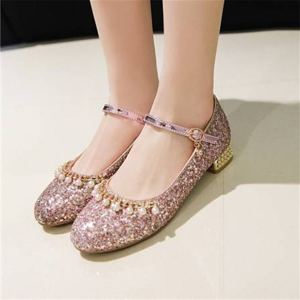 Donna Glitter scintillanti Tacco spesso Stiletto Mary Jane أحذية