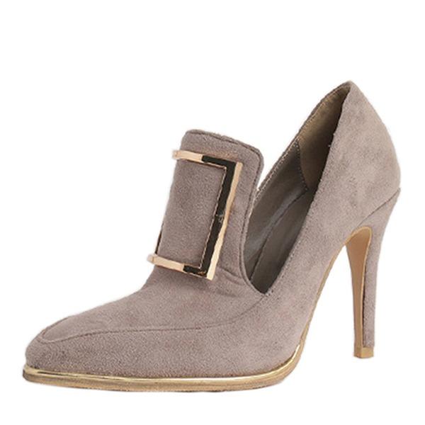 Vrouwen Suede Stiletto Heel Pumps Closed Toe met Gesp schoenen