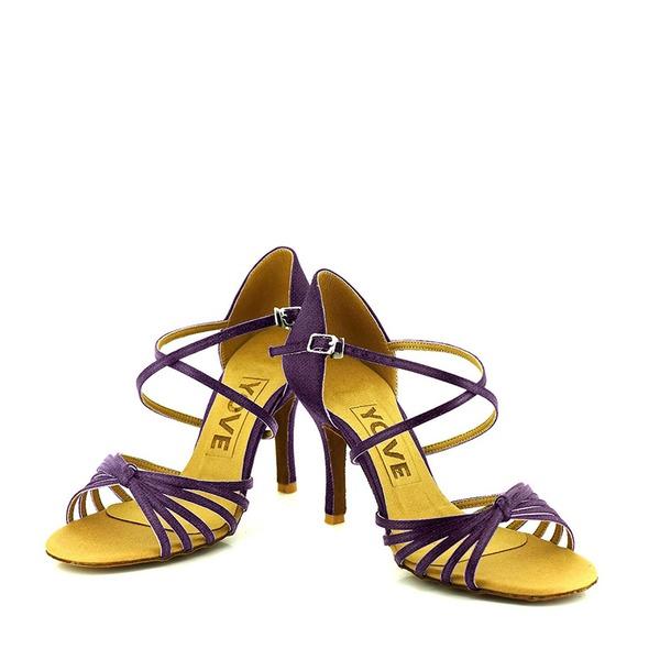 Frauen Satin Heels Sandalen Absatzschuhe Latin Tanzschuhe