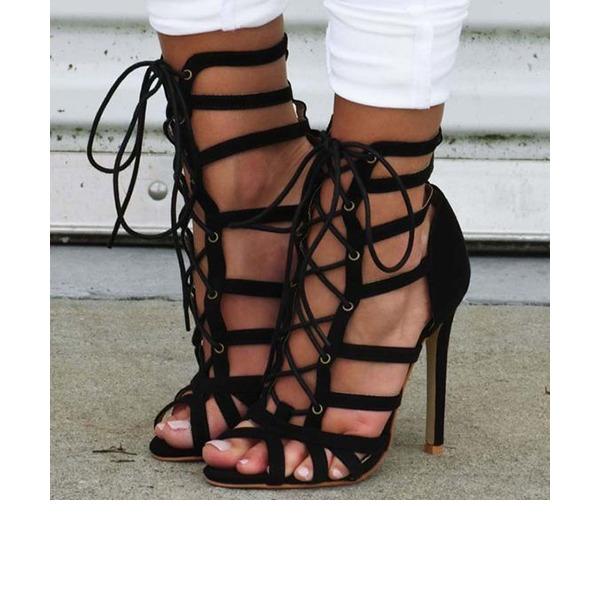 Kvinder Ruskind Stiletto Hæl sandaler Pumps Kigge Tå med Båndknude sko