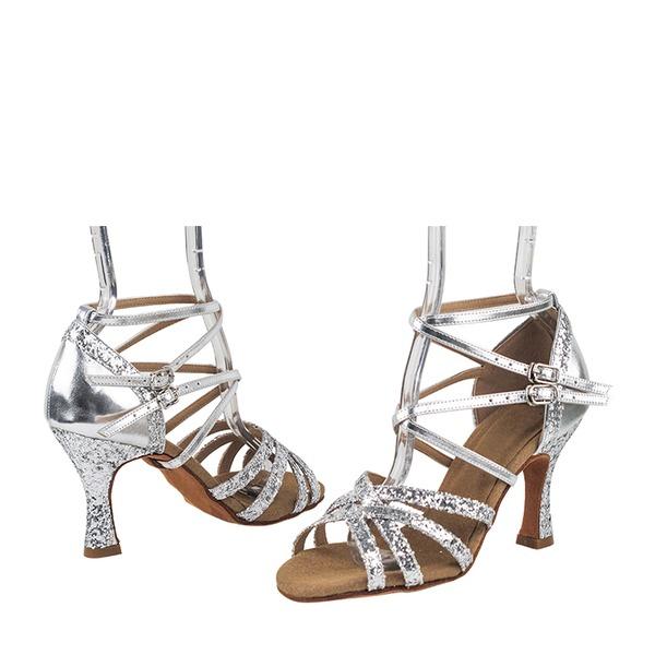 Dámské Koženka Šumivé Glitter Na podpatku Sandály Latinské Taneční boty