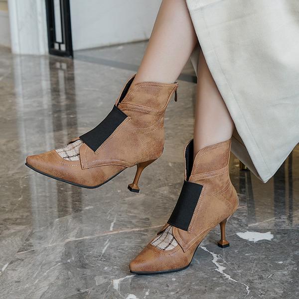 Mulheres PU Salto agulha Bombas Botas أحذية