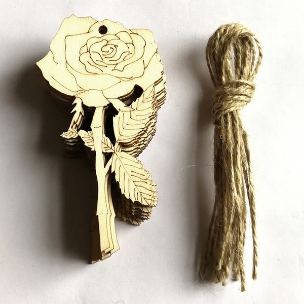 Nice/Beautiful/Flower Design Lovely/Pretty Wooden Wedding Ornaments (set of 10)