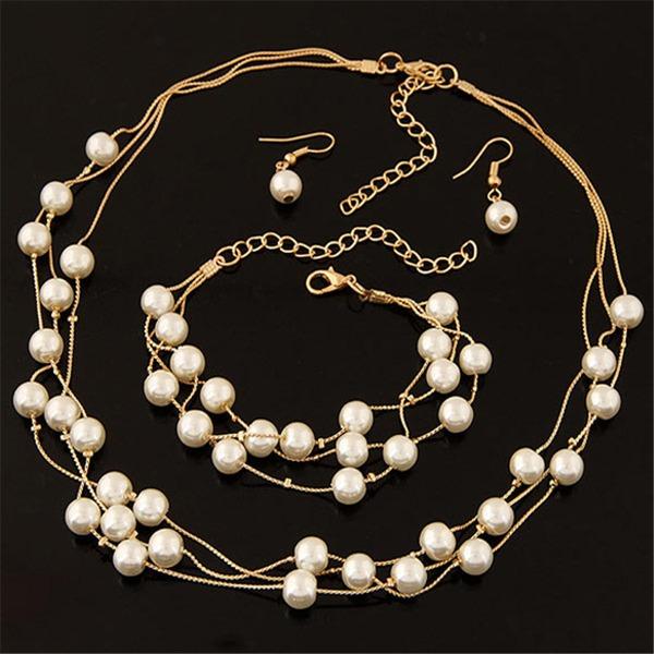 Gentil Alliage De faux pearl avec Perle d'imitation Dames Parures