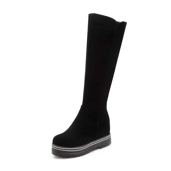 Frauen Veloursleder Flascher Absatz Stiefel Kniehocher Stiefel mit Andere Schuhe