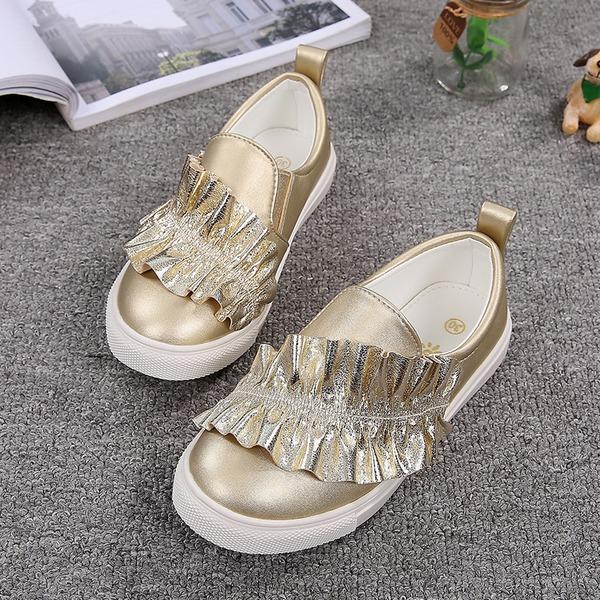 Girl's Closed Toe imitatieleer Flat Heel Flats met Roes