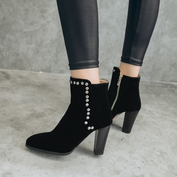 Women's Suede Chunky Heel Pumps Boots Ankle Boots With Rivet shoes