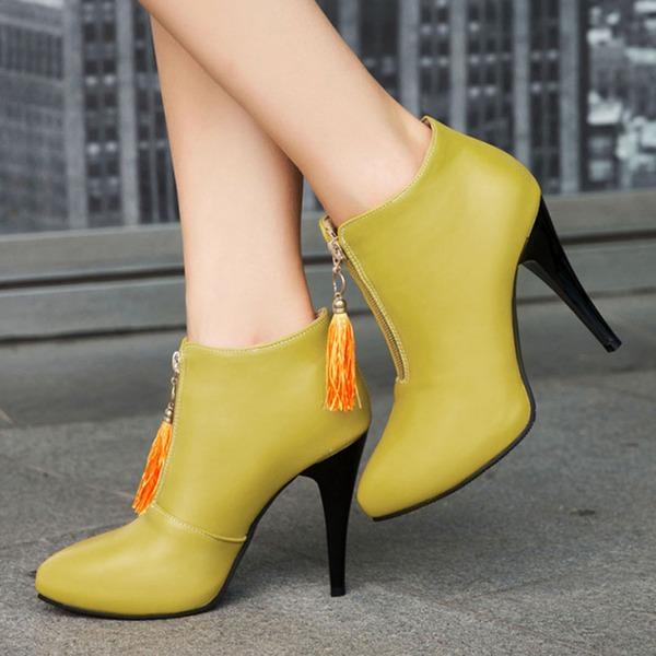 Frauen PU Stöckel Absatz Absatzschuhe Stiefelette mit Reißverschluss Quaste Schuhe
