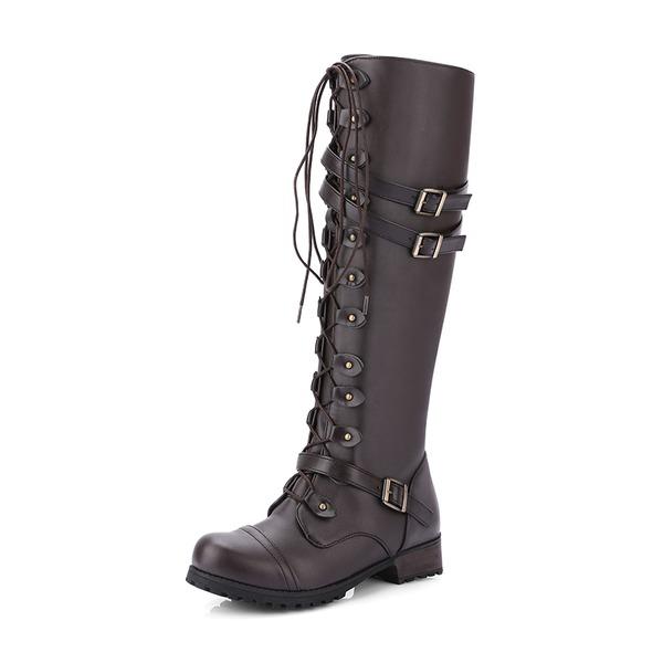 Femmes Similicuir Talon bas Bottes Bottes hautes Bottes cavalières avec Boucle Zip Dentelle chaussures