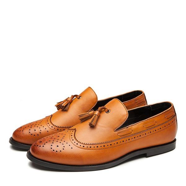 Erkek suni deri Brogue Püskül Makosenleri Gündelik Erkek Makosen Ayakkabı