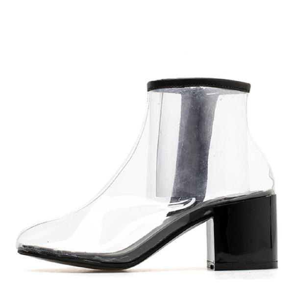 Kadın PVC Kalın Topuk Kapalı Toe Bot Ayak bileği Boots ayakkabı