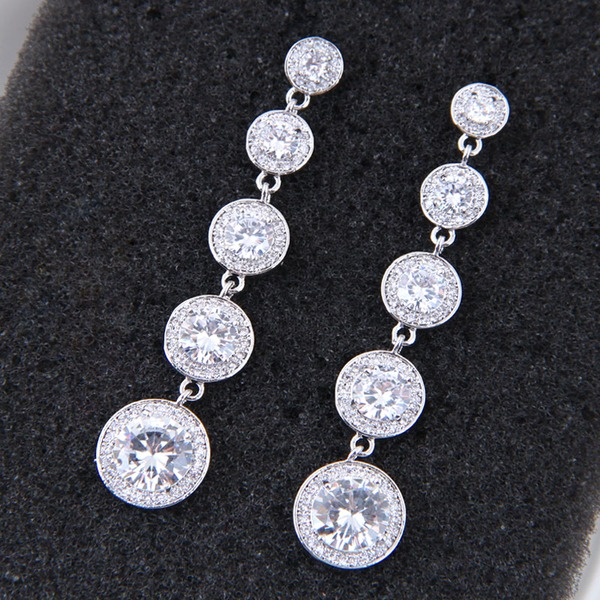 Elegant Copper/Zircon Ladies' Earrings