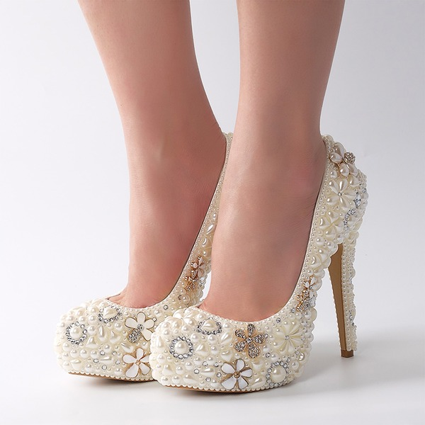 Women's Patent Leather Stiletto Heel Pumps With Imitation Pearl Rhinestone Flower