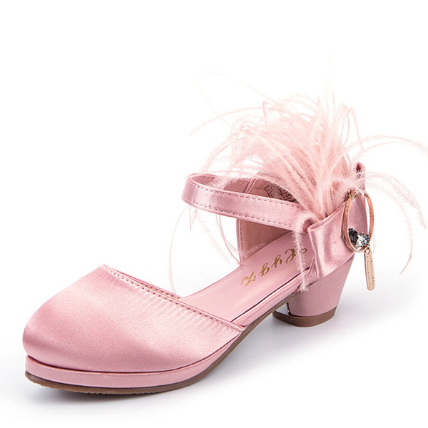 Girl's Closed Toe Silk Like Satin Low Heel Flats Flower Girl Shoes With Feather Velcro