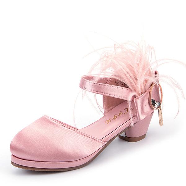 Muchacha Punta Cerrada Seide wie Satin El talón bajo Planos Zapatos de niña de las flores con Pluma Velcro