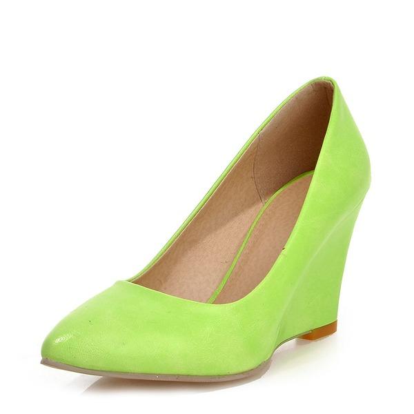 Женщины Лакированная кожа Вид каблука Танкетка с Другие обувь