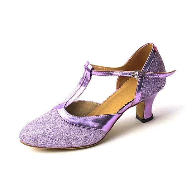 Women's Sparkling Glitter Heels Pumps Ballroom With T-Strap Dance Shoes