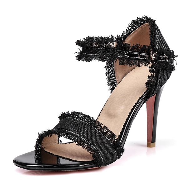 Women's Denim Stiletto Heel Sandals Pumps With Buckle shoes