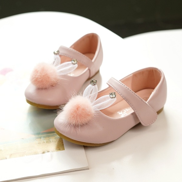 Jentas Mary Jane Microfiber Lær Flower Girl Shoes med Velcro pompom