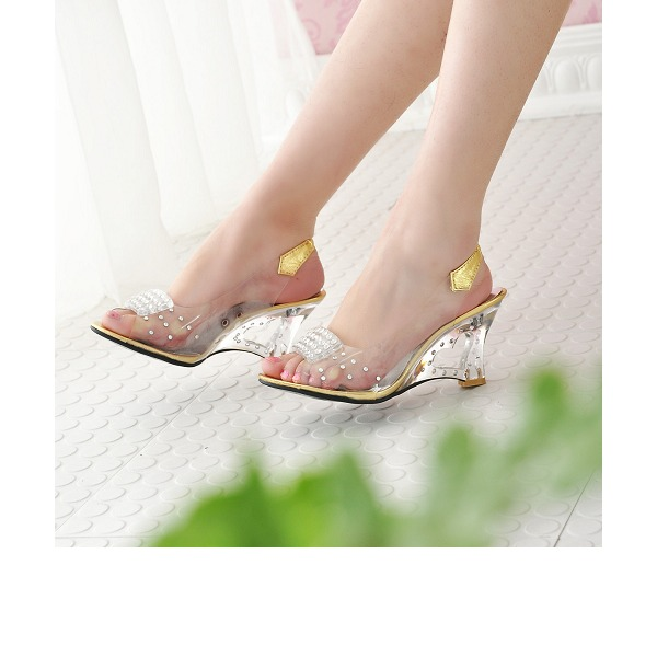 Women's PVC Wedge Heel Sandals Wedges Peep Toe Slingbacks With Rhinestone Jewelry Heel shoes